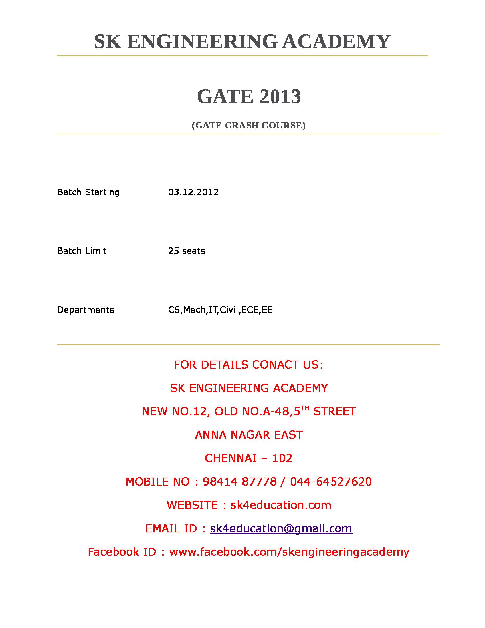 Gate coaching crash course in bangalore dating 2